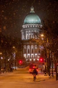 """Biking Through Snow"" taken by Michael Leland"